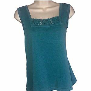C&B Knit Turquoise Tank Top w Hand Crochet Neck